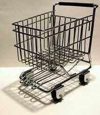 RARE DESIGN - CHROME & METAL MINI TOY SIZE - GROCERY SHOPPING CART BASKET
