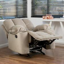 Traditional Latte Beige Fabric Glider Recliner Club Chair