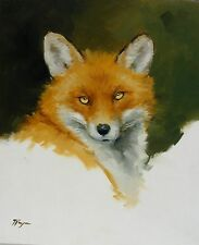 Original Oil painting - wildlife art - fox portrait - by j payne