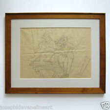 RED GROOMS Umberto Boccioni Signed Dated 1982 Pencil Drawing Framed JKLFA.com