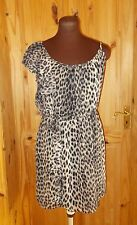 TOPSHOP beige brown black leopard animal print chiffon frill party dress 12 40