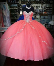 Coral Beaded Quinceanera Dresses For 15 Years Wedding Prom Ball Gowns Custom