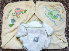 Size NB 0-6 M Months 2 Terry Hooded Towels (Frog, Turtle) & Baby Chai Diaper