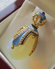 SALE ! ENAMELED STERLING SILVER 925 AND 24K GOLD  RUSSIAN EGG PENDANT  MOONSTONE