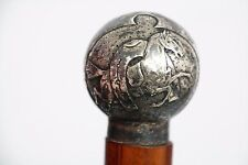 ANCIENNE CANNE POMMEAU EN ARGENT MASSIF CHEVAL HORSE SILVER WALKING STICK 19TH