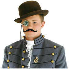 Male Steampunk Accessory Mens Costume Hat Monocle and Moustache Kit