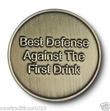 """Brnz """"Best Defense"""" Utility C/T AA 12 Step Recovery Program Coin/Medallion/Chip"""