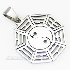 Men's Silver Yin Yang Taiji Diagram Stainless Steel Pendant with Chain Necklace