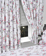 "FLORAL 66"" x 72"" READY MADE PENCIL PLEAT CURTAINS WHITE BLUE PINK ROSE FLOWERS"