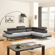 2 Piece Black/Grey Contemporary 2-Tone Faux Leather Microfiber Sectional Sofa