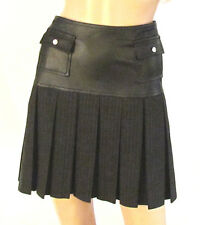 New Designer Worth Black Leather & Pleated Pinstripe Above The Knee Skirt Size.8