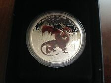 2012 Tuvalu Red Welsh Dragon $1 1oz .999 Pure Silver Proof Coin COA Box