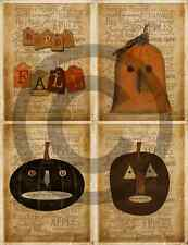 Primitive Labels - Fall Autumn Pumpkin Grungy Extreme Prim Typography - Set of 4