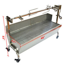 "46"" Large Stainless Steel BBQ,Pig,Lamb,Goat,Chicken Spit Roaster,Rotisserie Spit"