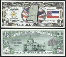 MISSISSIPPI STATE MILLION DOLLAR w MAP, SEAL, FLAG, CAPITOL - Lot of 2 Bills