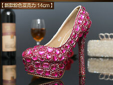 2016 Sparkly Gorgeous Handmade Diamonds Rhinestone Wedding shoes High Heels