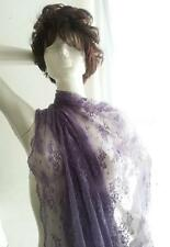 """1 Yard lavender 2 way Stretch Double Scalloped lace Fabric 58-60""""  US SHIPPER"""