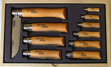 Opinel Display Change Tray of 10 Carbon Steel Knifes Gift Set Glass Top 183104