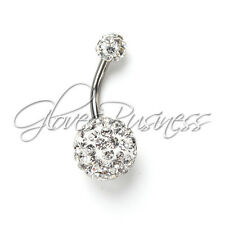 Round Ball Clear Surgical Steel Dangle Belly Button Ring Navel Ring Body Jewelry