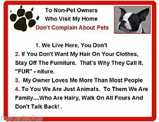 Funny Dog Boston Terrier House Rules Refrigerator / Magnet Gift Card Insert