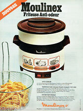 PUBLICITE ADVERTISING 115  1978  MOULINEX   friteuse anti-odeur