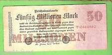 1923  GERMANY  50  MILLION  MARK  BANKNOTE  No. T.0464862