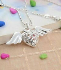 Silver Hollow Heart Angel Wings Necklace Chain Pendant Pretty