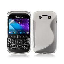 Housse coque étui en gel pour BlacBerry Bold 9790 motif vague couleur blanc tran