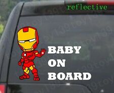 "FOR car / Iron Man ""BABY ON BOARD"" Vinyl  Decal Sticker  window / reflective"