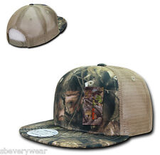 Camo Camouflage Gray Bark Tan Hunting Fish Flat Bill Trucker Snapback Hat Cap