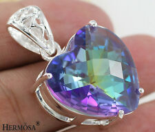 65% OFF Fire Rainbow Mystical Topaz Heart 925 Sterling Silver Necklace Pendant