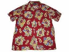 Polo Ralph Lauren Red Hawaiian Floral Ukulele Camp Full Button Shirt XL