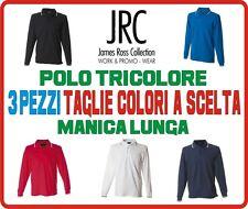 STOCK 3 pezzi polo TRICOLORE manica lunga ITALIA 6 colori da S a 3XL Cotone
