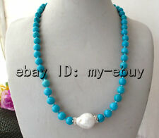 """8mm Round Blue Turquoise&White Keishi Keshi Baroque Pearl Necklace 21"""""""