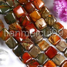Natural Multicolor Picasso Jasper 12mm Square Gemstone Loose Beads 15""