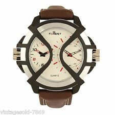 Fastrack Design Leather Belt BR White Dial Men's Watch FOREST BRAND Double Time