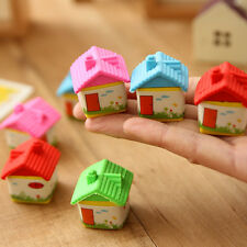 2pcs Novelty Cute House Rubber Pencil Eraser Stationery Children Kids Toys Gift
