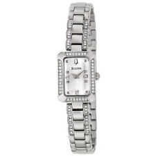 BULOVA DRESS SILVER DIAL CRYSTALS ACCENT ST.STEEL WOMEN'S WATCH 96X118 NEW