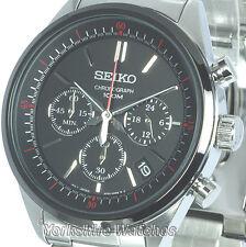 Nuevo Seiko Quartz Con Cronógrafo Dial Negro Con Pulsera De Acero Inoxidable SSB063P1