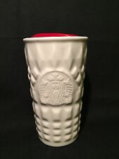 Starbucks Coffee Ceramic White Geometric Mug Travel Tumbler Container Cup 10 oz