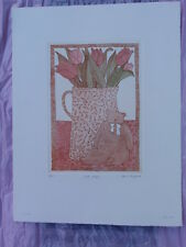VINTAGE  PINK TULIPS & TEDDY BEAR LIMITED EDITION 6/125 SIGNED PRINT