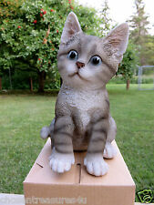 GREY AND WHITE CAT FIGURINE KITTEN 8 in.animal farm resin sitting straw box new