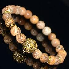 Men's Picture Jasper Gold Lion Head Beaded Bracelet /8 MM Beads
