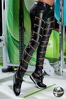 Damenhose Sexy Röhrenhose Stoffhose Hose Lederlook Hüfthose Skinny Zipper XS-L