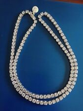 """Mens White Gold Finish White CZ  1Row Necklace Chain 32"""" 7 MM"""