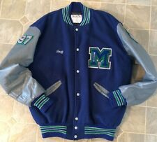 Vintage Letterman Jacket Size L Large Leather Varsity Music Hip Blue High School