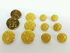 Vintage US Army Waterbury Gold Eagle Buttons Dress Jacket Set of 10  PLUS 2 PINS
