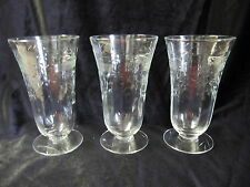 VINTAGE ETCHED PARFAIT STEMMED GLASSES IN VERY GOOD CONDITION SET OF 3