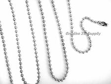 """LOT 50 BALL CHAIN NECKLACES 24"""" SILVER NICKEL PLATED OR BLACK EPOXY 2.4MM BEAD"""