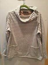 Susan Graver Size Med Gray White Striped Long Sleeve Shirt With Pockets